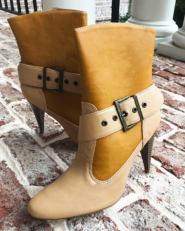LUMINOR Low Heel Ankle Boots in Tan | FLYJANE | Cute Low Heel Cowboy Booties for Women | Fashionable Granny Boots | Cute Fashionable Cowgirl Boots for Women at ShopFlyJane.com | Michael Antonio Luminor Booties