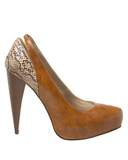 LUZ Snakeprint Hidden Platform Pump in Tan | FLYJANE | Fashion Pumps under $50 | Snake Print Pumps | Tan Pumps | Michael Antonio Pumps | Michael Antonio Shoes | Sexy Shoes at FLYJANE