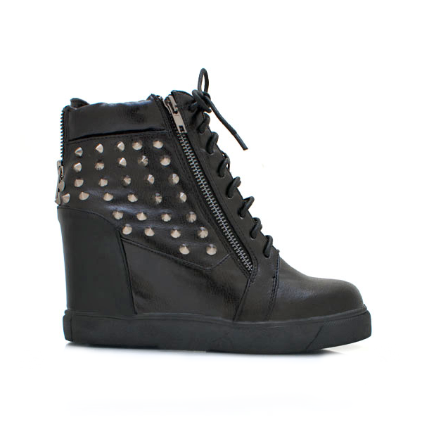 Shoe Republic LA MAGENA Studded Sneaker Wedge in Black at ShopFlyJane.com