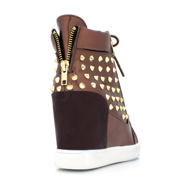 Shoe Republic LA MAGENA Studded Sneaker Wedge in Copper at ShopFlyJane.com