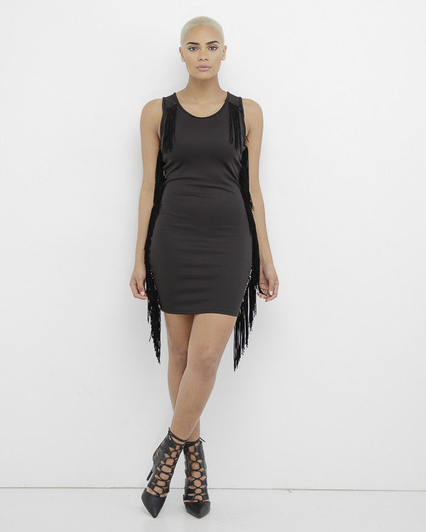 SHAKE IT OFF Fringe Bodycon Dress in Black at FLYJANE | Fringe Dresses | Little Black Dress | Black Fringe Dress | Shake it Up Fringe Dress