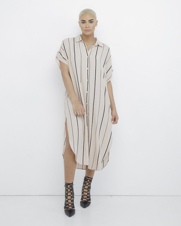 READ BETWEEN THE LINES Striped Button Down Shirt Dress at FLYJANE | Cool Dresses for Summer | Striped Dresses | Maxi Dresses
