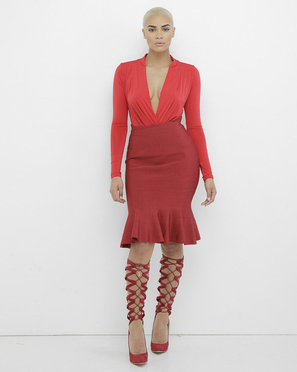RHONDA Fish Tail Midi Bodycon Skirt in Red at FLYJANE | Bodycon Skirt | Fish Tail Midi Skirt in Red | Red  Stretchy Skirt | Curve Hugging Skirt in Red
