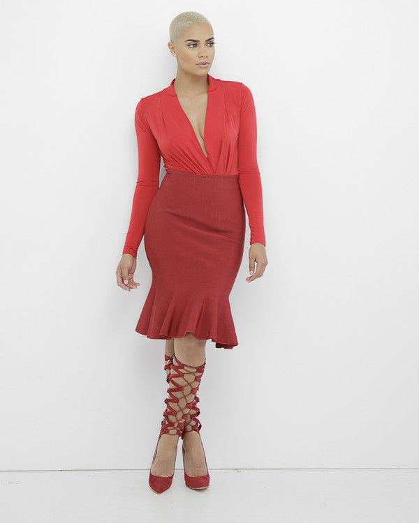vRHONDA Fish Tail Midi Bodycon Skirt in Red at FLYJANE | Bodycon Skirt | Fish Tail Midi Skirt in Red | Red  Stretchy Skirt | Curve Hugging Skirt in Red