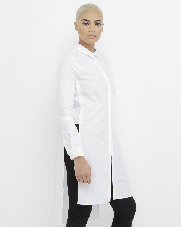 BORN WILD Woven Maxi Blouse at FLYJANE | White Woven Long Sleeve Blouse | Born Wild Woven Women's Maxi Length Blouse | Follow us on Instagram at @FlyJane