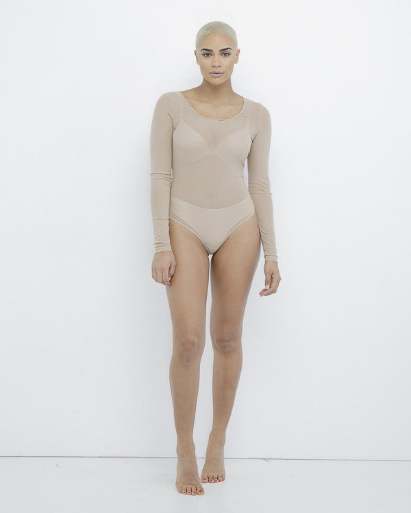 CHARLI Sheer Nude Round Neck Bodysuit at FLYJANE | Round Neck Sheer Bodysuit under $50 | Kim Kardashian Nude Sheer Bodysuit | Nude Sheer Bodysuit