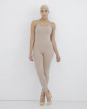 MARNI Jersey Bodysuit Catsuit in Nude at FLYJANE | Nude One piece Bodysuit | Nude Leggings | Nude Taupe Catsuit | Knit Jersey One Piece Leggings Catsuit