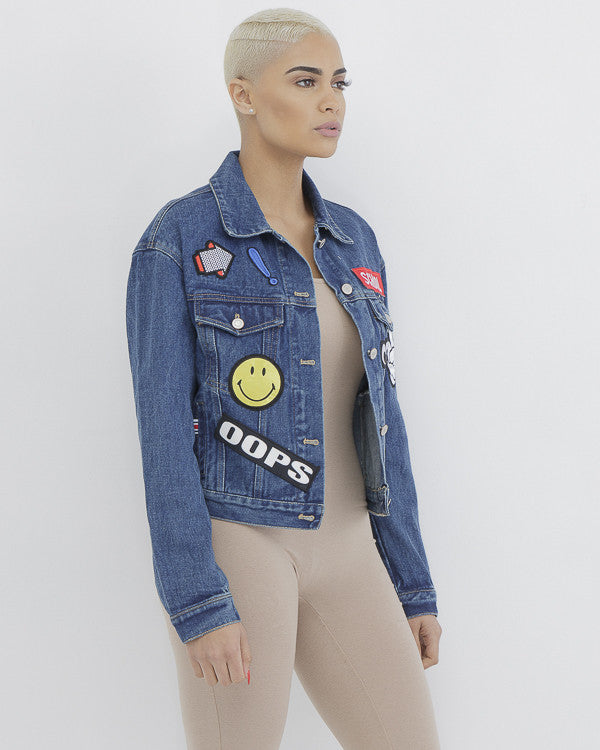 TOO COOL 4 SCHOOL Embroidered Denim Jacket at FLYJANE | Classic Denim Jacket with Stitched on Patches for Cool Girls | Denim Jacket with Patches | School Jacket
