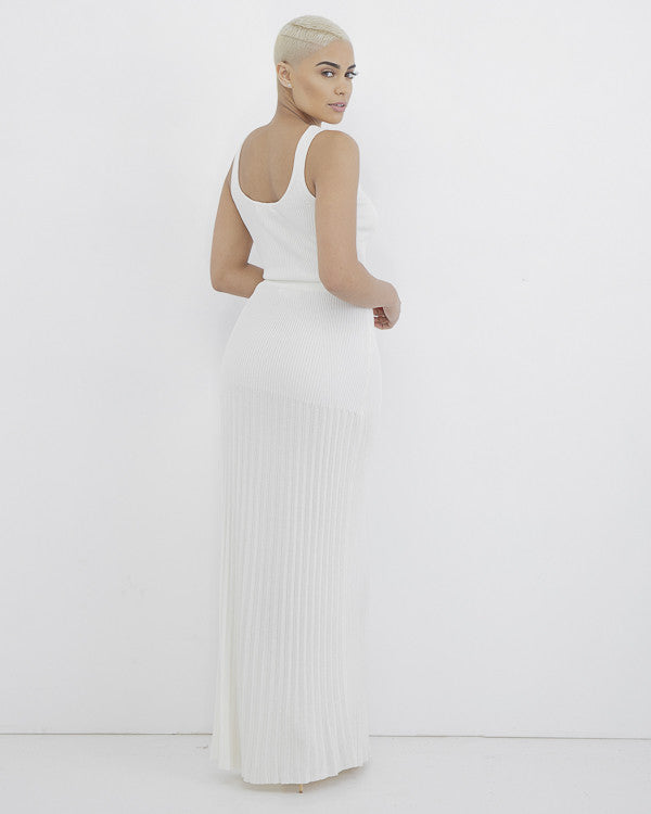 CASSANOVA Knit Maxi Skirt Set in Off White at FLYJANE | White Ribbed Long Maxi Skirt with matching Crop Top | Follow us at @FlyJane on Instagram