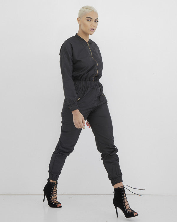 SPECIAL FORCES Cargo Jumpsuit in Black at FLYJANE | Black Green Airforce Airmen One Piece Cargo Jumpsuit under $100 | Rihanna Kylie Jenner Jumpsuit