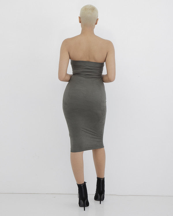 RAINA STRAPLESS MIDI DRESS