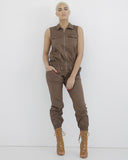 LIEUTENANT ENVY Brown Cargo Jumpsuit at FLYJANE | Brown Utility Jumpsuit | Brown Cargo Jumpsuit | Young Contemporary Fashion at FLYJANE