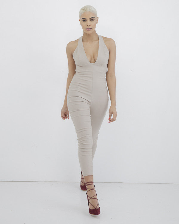 FLEEK STAR Cropped Jumpsuit at FLYJANE | Cute Taupe Nude Cropped Length Jumpsuit | Solemio Jumpsuit | FlyJane has the Cutest Jumpsuits | Contemporary Style