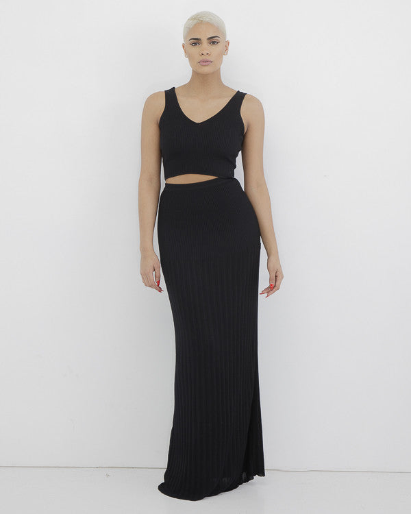 CASSANOVA Knit Maxi Skirt Set in Black at FLYJANE | Black Ribbed Long Maxi Skirt with matching Crop Top | Follow us at @FlyJane on Instagram