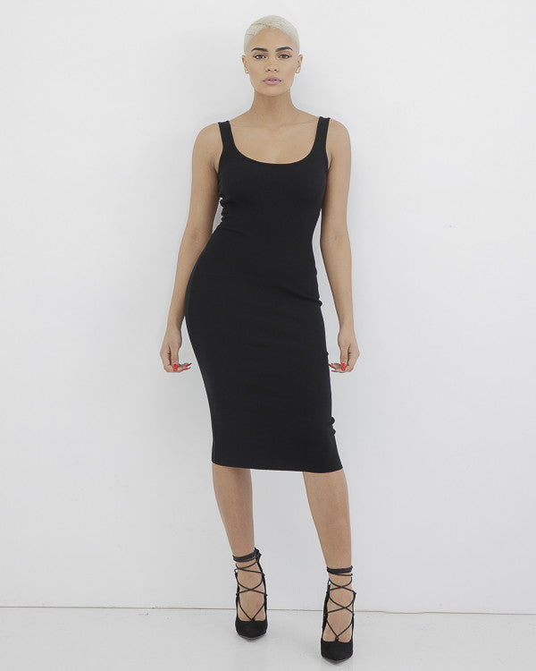 NOT YOUR AVERAGE KNIT BODYCON DRESS - BLACK