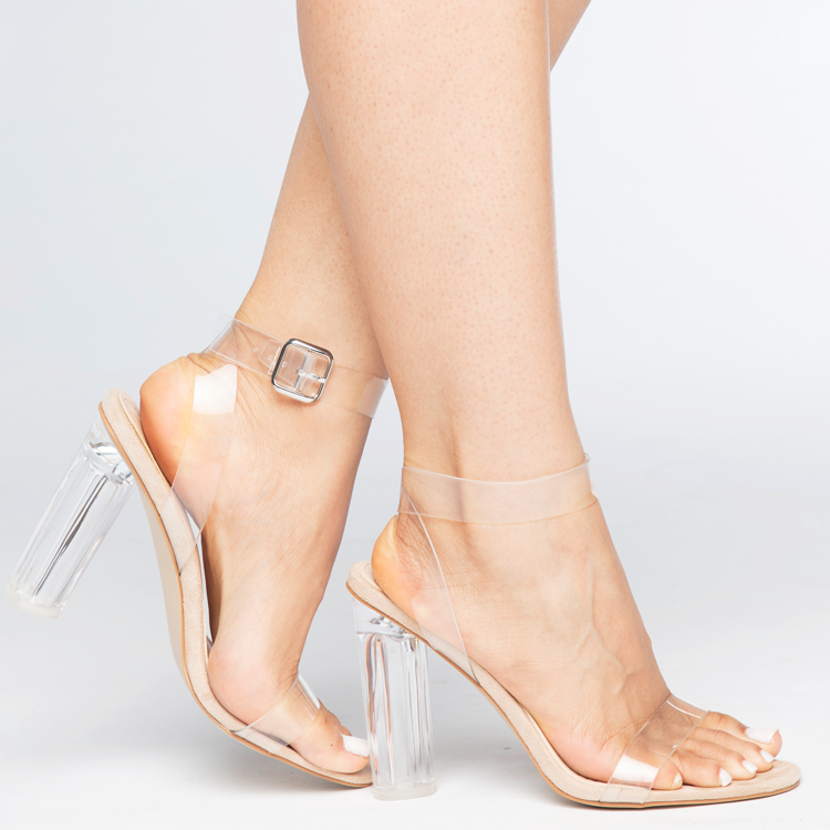 MATAI Perspex Clear Heel Sandals with Lucite Heel at FLYJANE | Yeezy Season Inspired Clear Sandals | Kim Kardashian Clear Heels | Ego Official Clear Heels