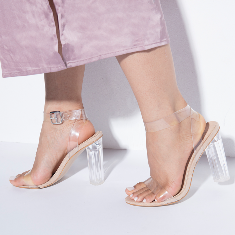 MATAI Perspex Clear Heel Sandals with Lucite Heel at FLYJANE