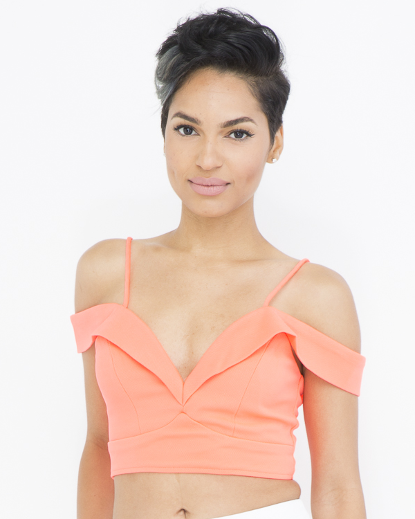 MILEY Off The Shoulder Crop Top in Orange at FLYJANE | Crop Tops | Neon Orange Top | Off the Shoulder Top | Cute Clothes for Summer at FLYJANE