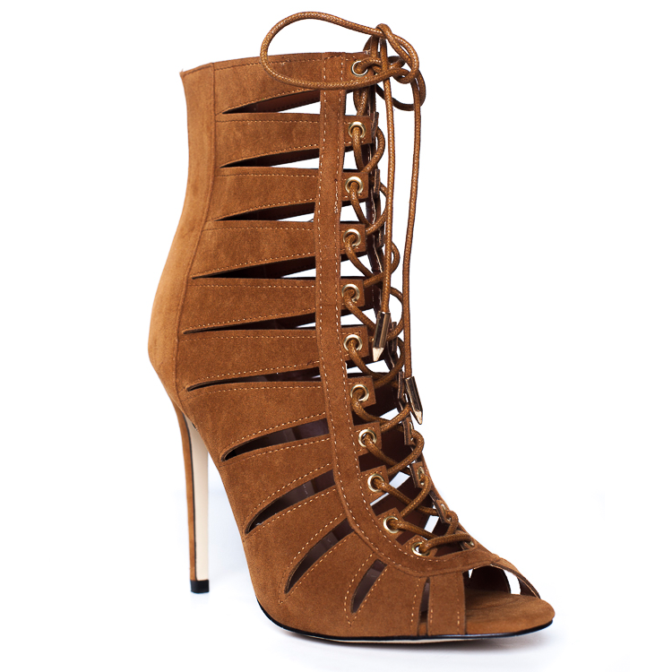 CELESTINE LACE UP BOOTIE - TAN