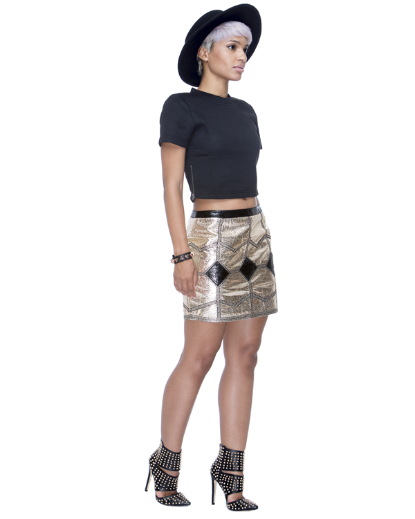 GOLD RUSH Metallic Skirt at FLYJANE