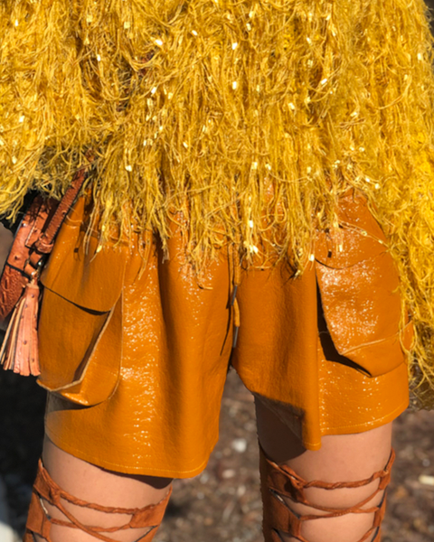 GILLESPIE Faux Leather Shorts in Mustard at FLYJANE | Mustard Yellow Faux Leather Shorts | Fall Fashion at ShopFlyJane.com