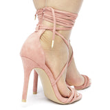 AMBERLY Lace Up Strappy Heel in Blush Suede at FLYJANE | Blush Suede Sandals | Kim Kardashian Sandals | Blush Heels under $50 | Party Heels
