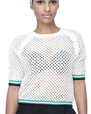NO BOYS CLUB Netted Sweater in Beige at FLYJANE