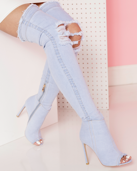 STASSI Stretch Denim Thigh High Boots in Light Denim by The Loud Factory at FLYJANE | Kim Kardashian Denim Boots | Kylie Jenner Denim Boots | Fade Denim Shop