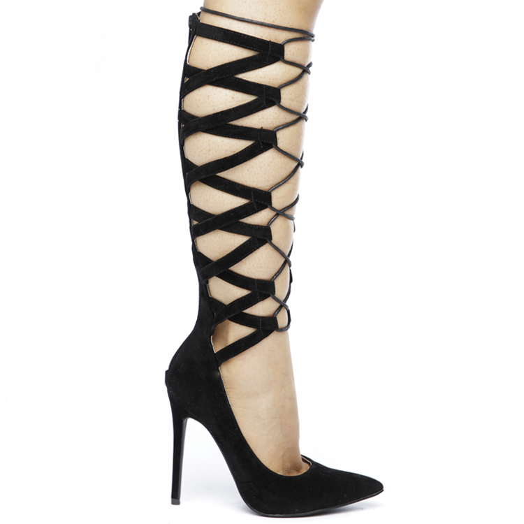 NO FEELINGS LACE UP PUMPS - BLACK