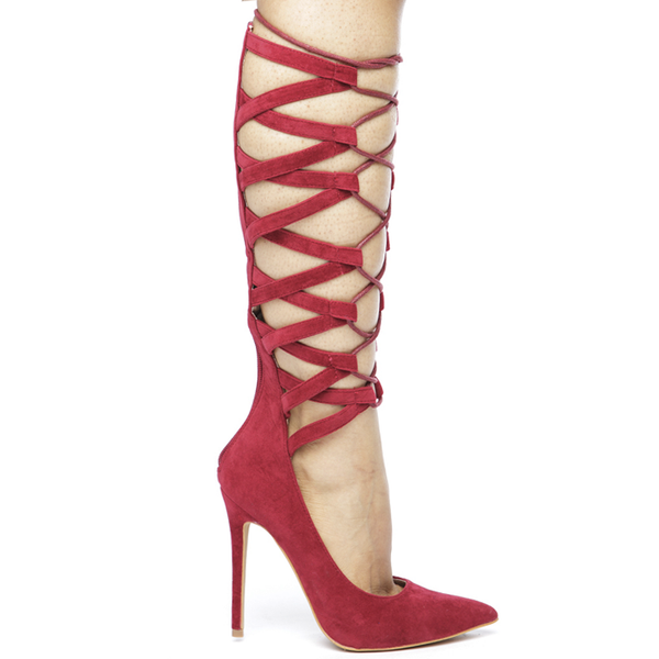 NO FEELINGS Lace Up Pumps in RED at FLYJANE | Lace Up Heels | CUTE Contemporary Shoes under $75 | Hot Shoes for Less | Designer Inspired Shoes
