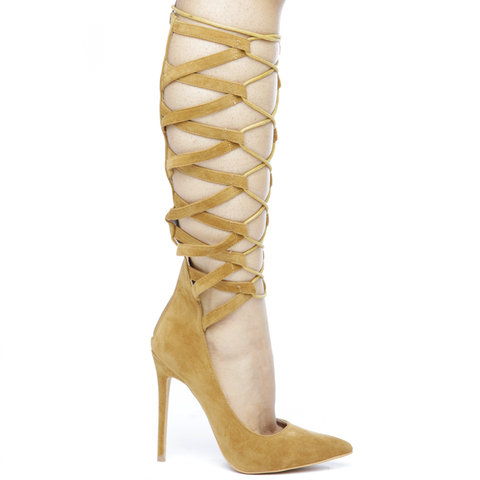 NO FEELINGS Lace Up Pumps in TAN at FLYJANE | Lace Up Heels | CUTE Contemporary Shoes under $75 | Hot Shoes for Less | Designer Inspired Shoes