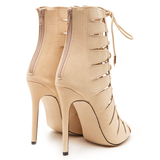 CELESTINE Lace Up Bootie in Nude at FLYJANE | Beige Lace Up Bootie | Balmain Designer Inspired Lace Up Bootie | Kylie Jenner Lace Up Bootie | Art Basel @FlyJane
