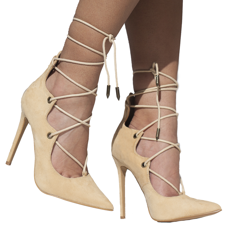 ALAIAH LACE UP PUMP - NUDE