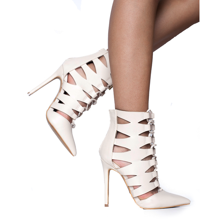 ARRIANE Laser Cutout Bootie in Nude at FLYJANE | Nude Color Pointed Toe Bootie | Follow us on Instagram at @FlyJane