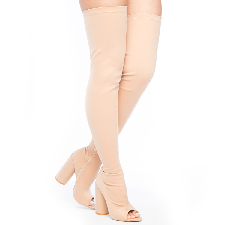 SHAYLA Stretch Lycra Peep Toe Thigh High Boots in Nude at FLYJANE | Nude Stretch Thigh High Boots | Yeezy Season Thigh High Boots | Kim Kardashian Thigh High Boots