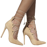 ALAIAH LACE UP PUMP - NUDE (SAMPLE)
