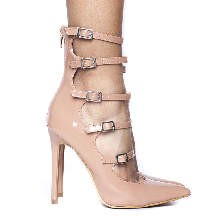 CAMILLA PATENT BOOTIE - NUDE
