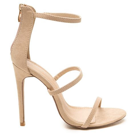 SANTARA Nude Suede 3 Strap Stiletto Heel at FLYJANE | Nude Sandal under $50 | Cute Nude Strappy Sandal | Open Toe Sandal in Nude Suede | Cute SHoes under $50