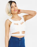 Endless Rose | SEYCHELLES SUMMER Cutout Crop Top in White at FLYJANE