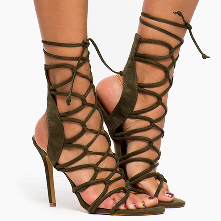 AMICA LACE UP SANDAL - OLIVE