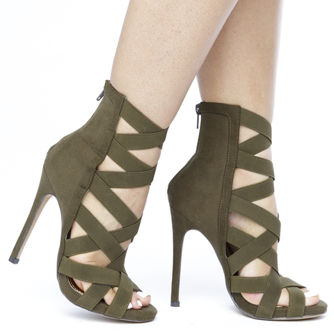 CAGNEY Caged Spandex Faux Suede Bootie in Olive at FLYJANE | Olive Neutral Suede Bootie | Cute Faux Suede Bootie Spandex Strappy Nude Booties | Shoes under $50