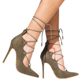 ALAIAH Lace Up Pump in Olive at FLYJANE | Kylie and Kendall Jenner Shoe Collection | Heels | Army Green Suede Pumps | Follow Us on Instagram @FlyJane
