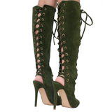 BAXTER Lace Up Knee Boot in Olive at FLYJANE | Designer Inspired Lace Up Knee Boot in Chestnut Tan | Kylie Jenner Lace Up Boot | Follow us Instagram at @FlyJane