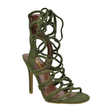 AMICA Lace Up Sandal in Olive at FLYJANE | Amica Sexy Lace Up Sandal | Olive Green Strappy Sandals under $50 | Sexy Heels | Faux Suede Sandals | Strappy Heels