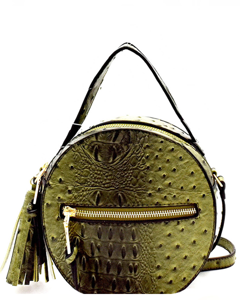 NARNI Ostrich Embossed Round Crossbody Bag in Olive at FLYJANE | Ostrich Crossbody Bag | Olive Green Round Bag | Cute Statement Bags at ShopFlyJane.com