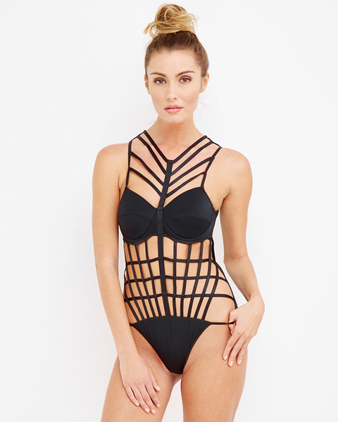 Rehab | ST. CROIX Black Cutout Swimsuit at FLYJANE | One Piece