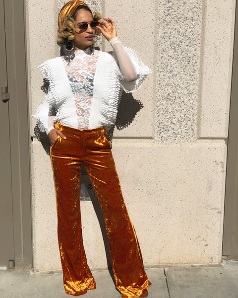 MARSHON Velour Stretch Wide Leg Pants in Burnt Gold | FLYJANE | Cute Wide Leg Pants with Gold Tuxedo Stripe | Cute Trendy Pants with Classic Flavor at ShopFlyJane.com