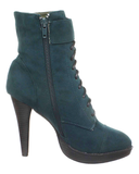 OZZY Bootie in Teal Blue at FLYJANE | Faux Suede Lace Up Bootie in Teal Blue | Cute Granny Booties at ShopFlyJane.com