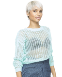 PEEK A BOO Knit Crop Sweater in Aqua at FLYJANE