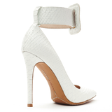 ZigiNY PAULINE Pump in White Snake Leather at FLYJANE
